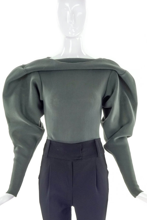 Gaspard Yurkievich Mud Green Neoprene Stretch Military Style Sculptural Top
