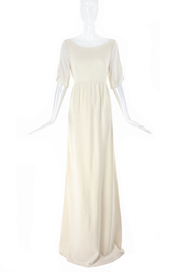 Roksanda Ivory Crepe Wool Long Dress with White Silk Sleeves.