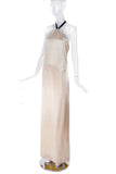 Margiela Ivory Satin Low Back Gown with Halter Ribbon Tie