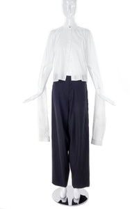 MM6 Margiela White Cotton Button Up Shirt with Elongated Sleeve