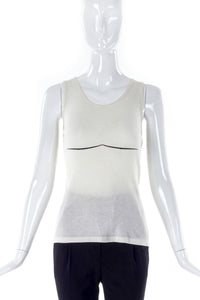 Helmut Lang Ribbed Tank Top with Graphic Boob Accent Line