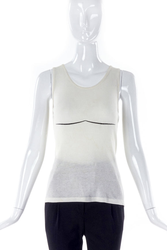 1998 Helmut Lang Ribbed Tank Top with Swirl Graphic Boob Accent Line