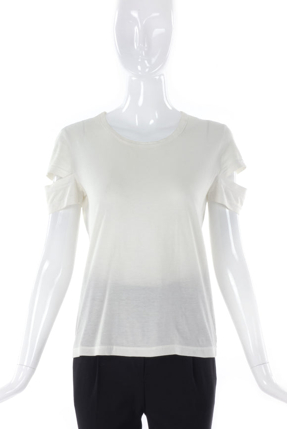 1998 Helmut Lang White Cut out Sleeve T-shirt