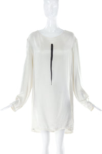 Ann Demeuleemeester White Silk Top with Brushstroke Print