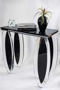 """Silence of Eclipse"" Lucite Black and Clear Console Table by Mikhail Loznikov - signed & dated 1992"