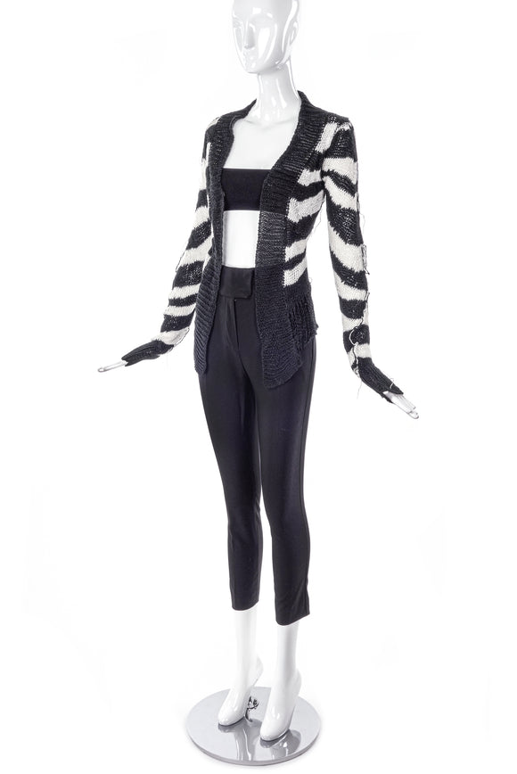 Ann Demeulemeester Black and White Loose Knit Cardigan - BOUTIQUE PURCHASE PRICE