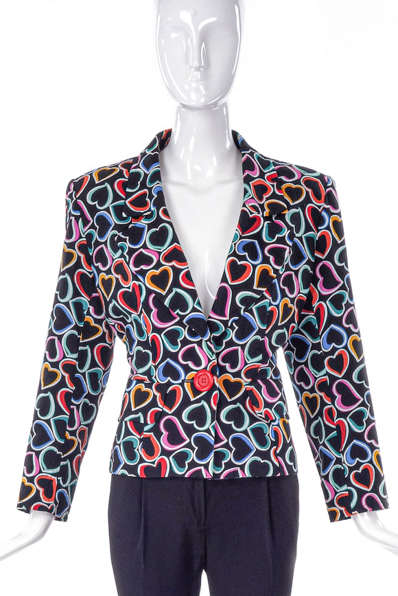 Yves Saint Laurent Multi-Heart Print Blazer -BOUTIQUE PURCHASE PRICE