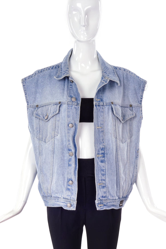 Versace 90's Jeans Couture Oversized Denim Vest with Silver Medusa Buttons