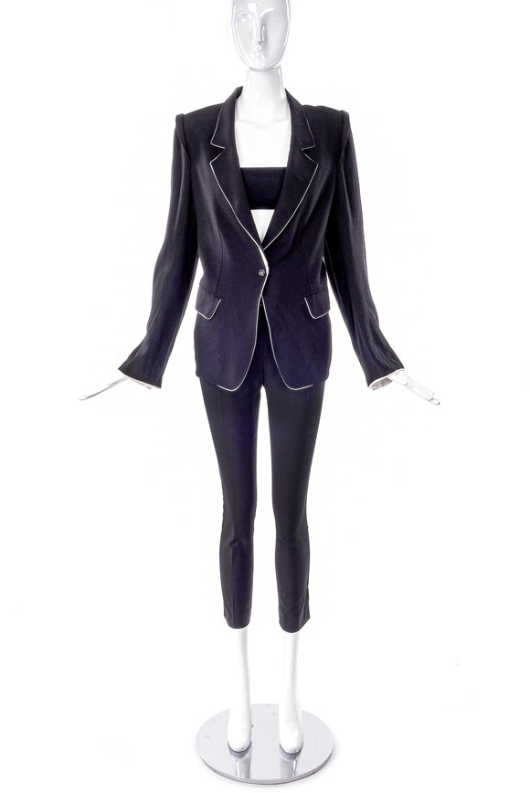 Ann Demeulemeester Black Fitted Blazer with White Piping - BOUTIQUE PURCHASE PRICE