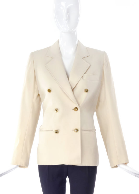 Saint Laurent Creme Pea Coat Blazer with Sphere Gold Buttons - BOUTIQUE PURCHASE PRICE