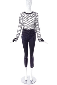 Ann-Sofie Back Loose Fit Fishnet Top in Black with Minimal Chic Glitter Effect