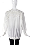 Givenchy White Cotton Sweat Shirt with Lace Appliqués -  BOUTIQUE PURCHASE PRICE