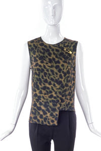 Versus by Versace Gold Medusa Safety Pin Military Leopard Top - BOUTIQUE PURCHASE PRICE