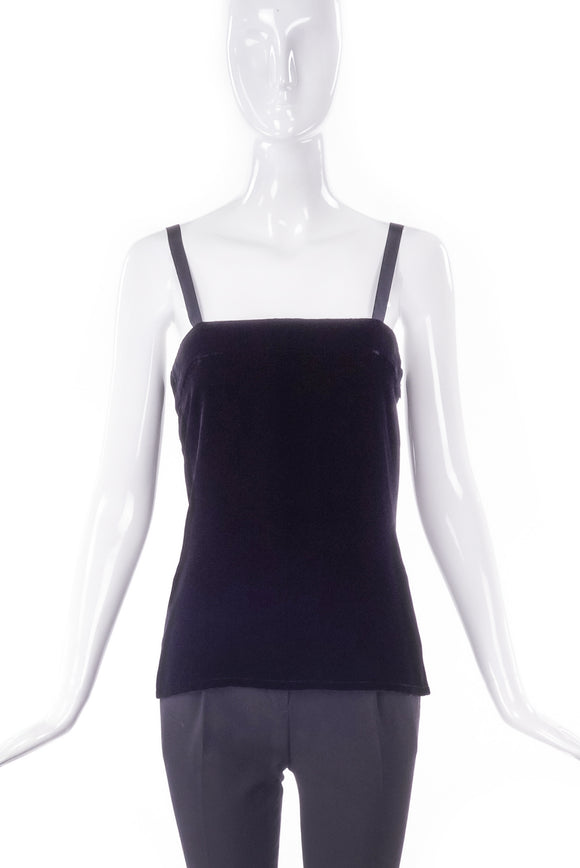 Yves Saint Laurent Luxurious Black Velvet & Satin Camisole