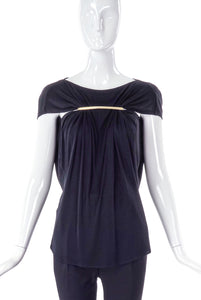Maison Martin Margiela Black Gathered Top with Metal Bar Detail - BOUTIQUE PURCHASE PRICE
