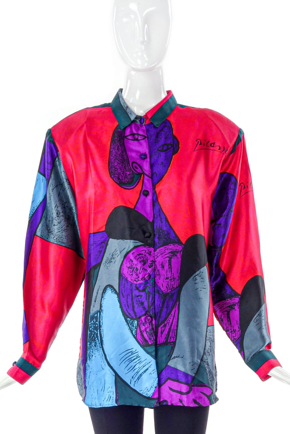 Picasso Silk Print Button-Up Blouse