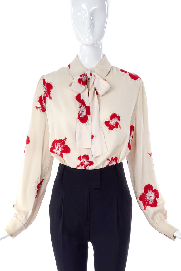 Saint Laurent Cream Bow Blouse with a Sparkling Hibiscus