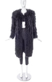 Sonia Rykiel Black Marabou Plume Coat with Shoulder Pads