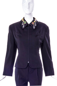 Byblos Black Wool Zip-Up Jacket with Costume Jewel Details on Collar