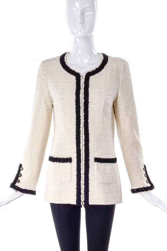 Chanel Ivory and Black Tweed Jacket