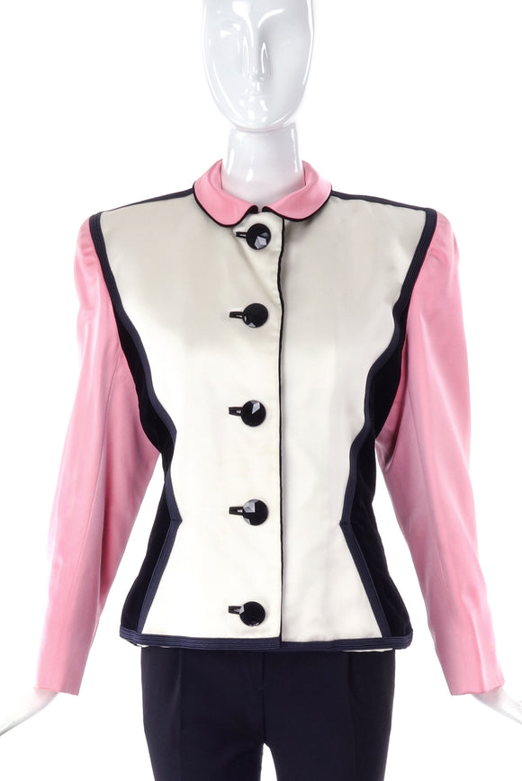 Saint Laurent Rive Gauche Pink, Black and White Satin Colorblock Jacket 1988 - BOUTIQUE PURCHASE PRICE
