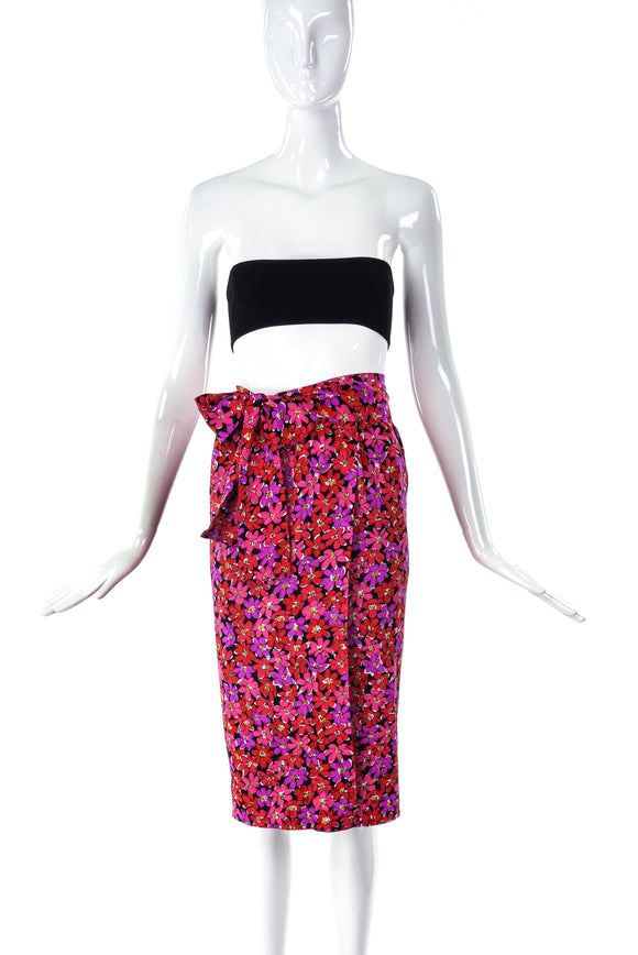 Saint Laurent Rive Gauche Pink and Red Floral Wrap Skirt - BOUTIQUE PURCHASE PRICE