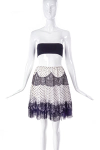 Meadham Kirchhoff Black & White Polka Dot and Lace Silk Skirt - BOUTIQUE PURCHASE PRICE