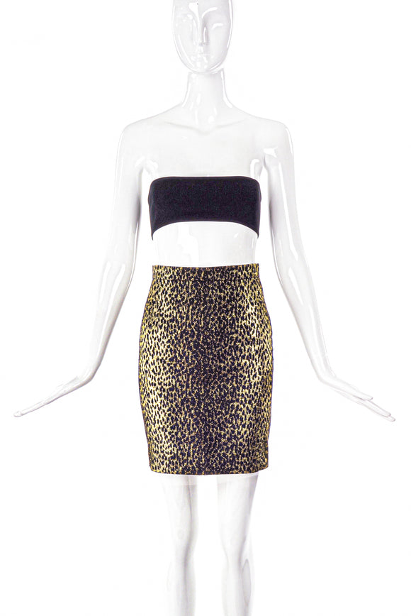 Saint Laurent Paris Gold Lurex Brocade Leopard Print Pencil Skirt SS2014 - BOUTIQUE PURCHASE PRICE