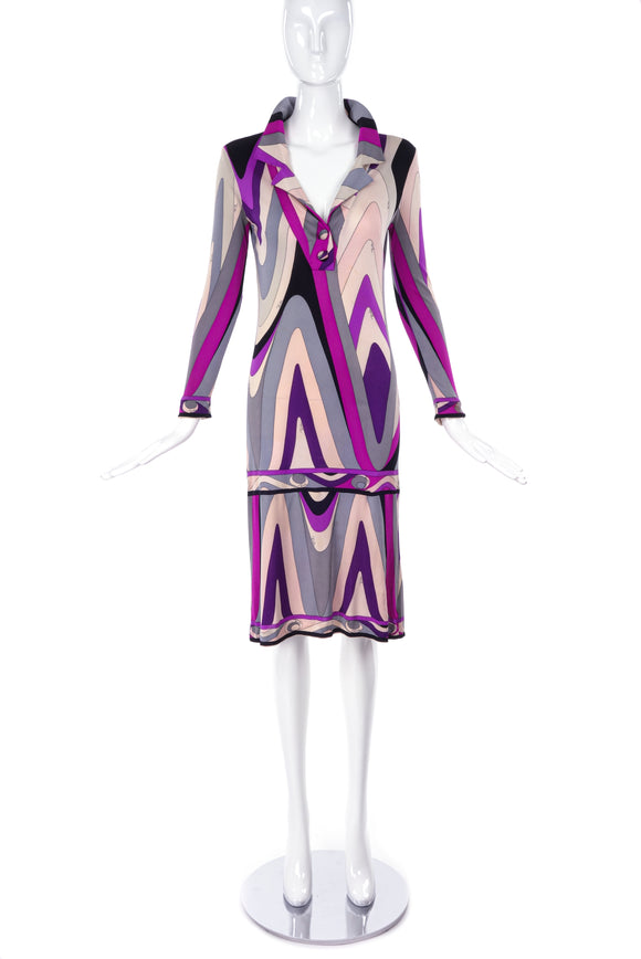 Emilio Pucci Vintage Purple Gray Blush Polo Collar Dress