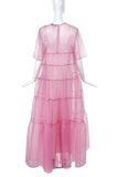 Staud Pale Pink Tiered Chiffon MuMu Gown with Matching Slip
