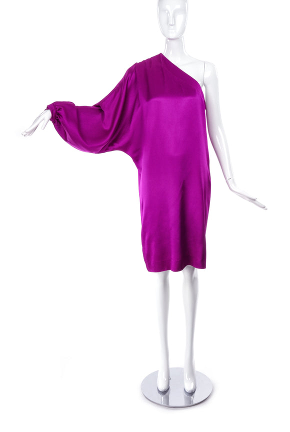 Christian Dior Magenta Pink One Sleeve Satin Dress