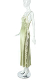 Green Silk Vintage Slip Dress with Creme Lace Inlays