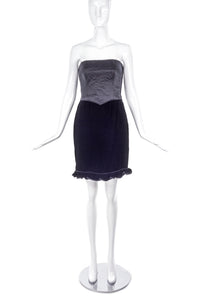 Valentino Satin Quilted Corset Dress with Velvet Flounce Hem - BOUTIQUE PURCHASE PRICE