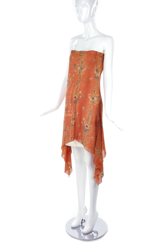 John Galliano Orange Bohemian Print Strapless Dress - BOUTIQUE PURCHASE PRICE