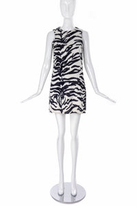 "Versace Jeans Couture ""Teddy"" Black and White Tiger Print Shift Dress"