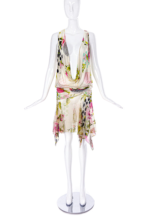 Christian Dior Chiffon Floral Print Dress from SS2004