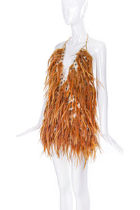Courrèges Body Chain Top with Orange Feathers