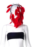 Black Net Veil with Red Feathers - Blue Version available as well.