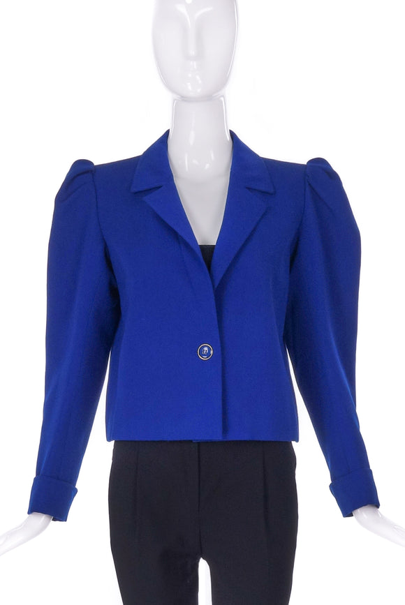 Saint Laurent Blue Garbadine Puff Sleeve Jacket - BOUTIQUE PURCHASE PRICE