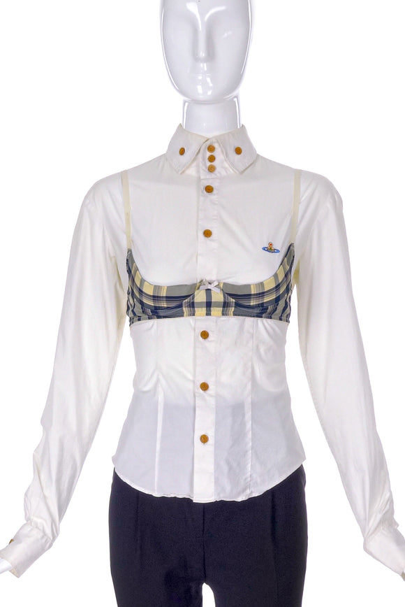 Vivienne Westwood Tartan Bra and Button-Up Blouse