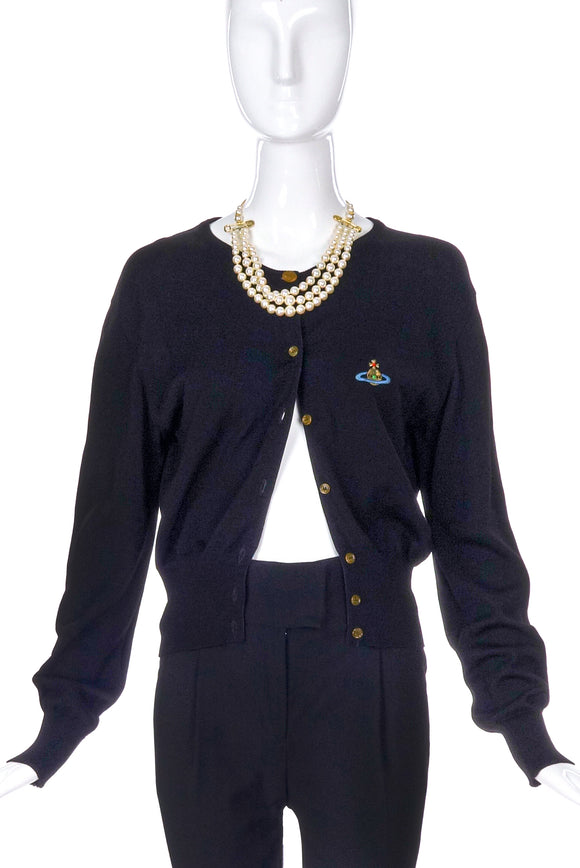 Vivienne Westwood Black Cardigan with Logo Patch