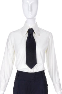 Vintage Trak White 1970's Penny Round Shirt and Wide Black Satin Kipper Tie