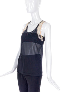 "Helmut Lang Mesh and Lace ""Basketball"" Tank Top"