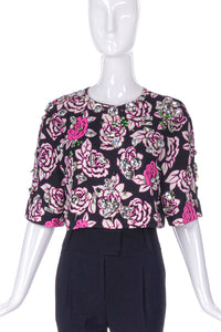 Emanuel Ungaro Floral Print Crop Top with Crystal Stud Details