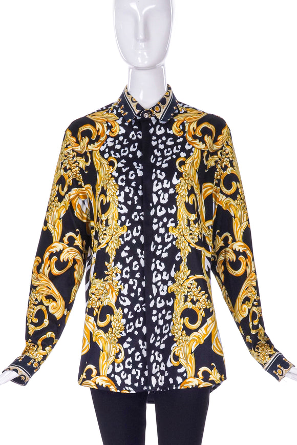 Versace Black & White Graphic Leopard / Zebra and Gold Baroque Print Shirt