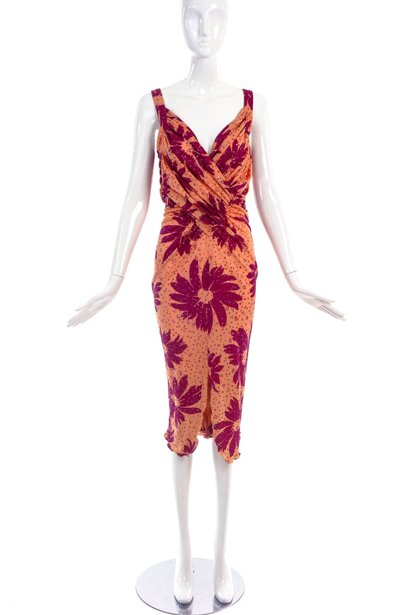 Hidy Misawa Coral & Maroon Viscose Dress with Floral Glitter Print - BOUTIQUE PURCHASE PRICE