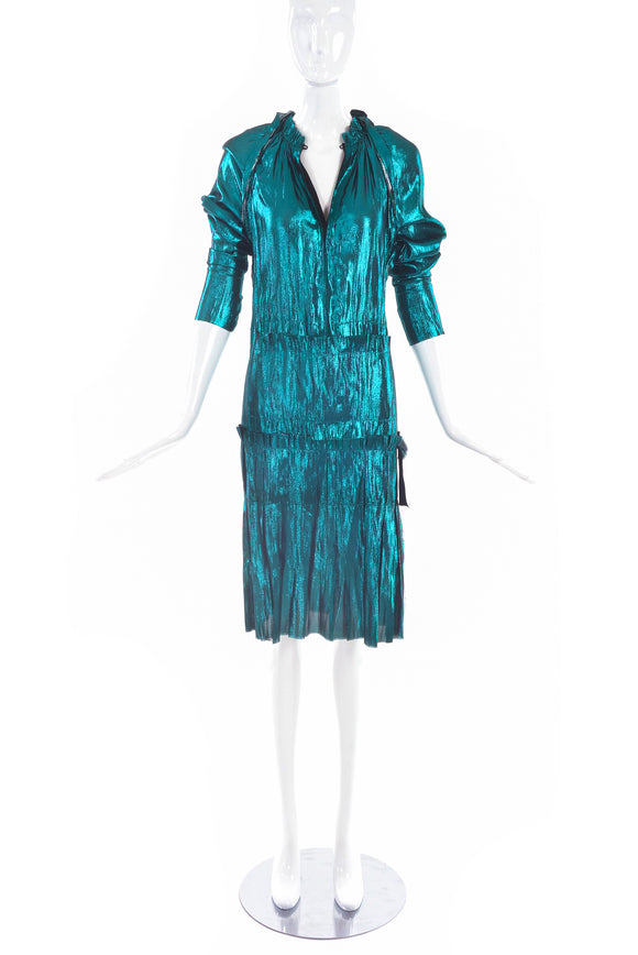 Lanvin Turquoise Metallic Drop Waist Dress