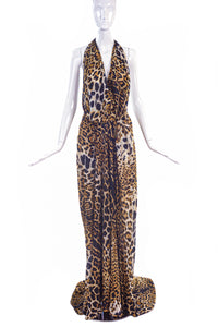 Yves Saint Laurent by Tom Ford Leopard Cheetah Print Silk Caftan Gown