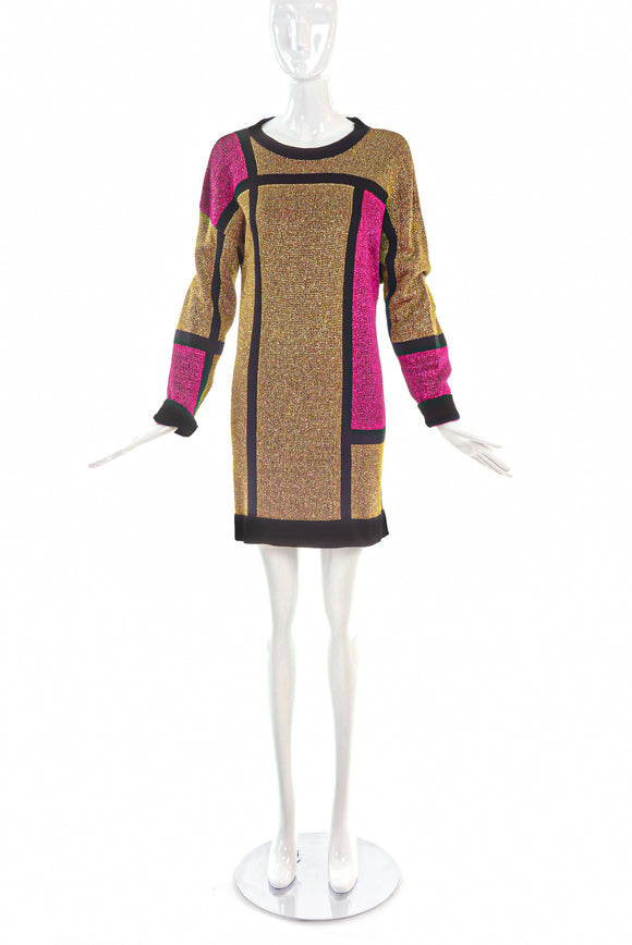 Pierre Cardin Gold and Pink Metallic Lurex Knit Mondrian Dress
