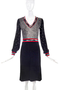 Leonard Black Dress with White Dot Print and Red Piping